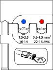 Bac interschimbabil pentru sertizat conectori izolati 0.5-1.5/1.5-2.5 mm², nr.art. 8140-02