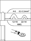 Bac interschimbabil pentru sertizat conectori neizolati 0.5-2.5-4-6 mm², nr.art. 8140-05