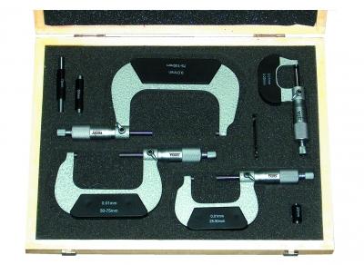 Trusa micrometre mecanice de exterior, 4 piese, 0-100 mm DIN 863